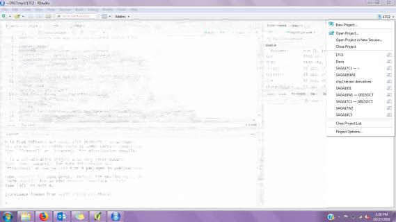 rstudio project menu